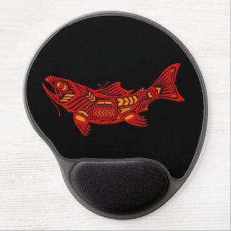 Red Haida Spirit Fish on Black Gel Mouse Pad