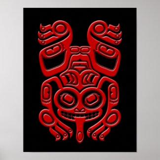 Red Haida Spirit Tree Frog on Black Poster