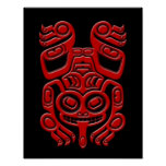 Red Haida Spirit Tree Frog on Black Posters