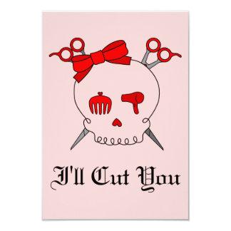 Red Hair Accessory Skull (Scissor Crossbones - #2) Personalized Invitations