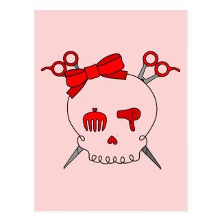 Red Hair Accessory Skull (Scissor Crossbones - #2) Postcard