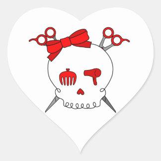 Red Hair Accessory Skull (Scissor Crossbones) Heart Sticker