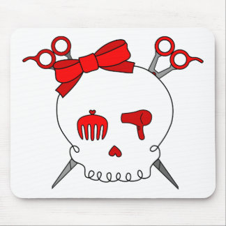 Red Hair Accessory Skull (Scissor Crossbones) Mouse Pad