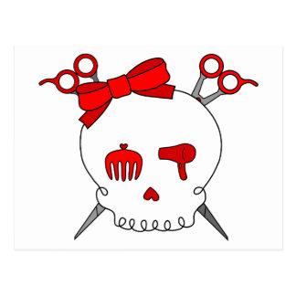Red Hair Accessory Skull (Scissor Crossbones) Postcard
