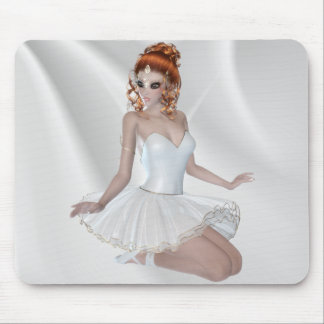Red Hair Ballerina Girl in White Dress Mouse Pad