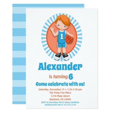 Red Hair Basketball Boys Birthday Invitation
