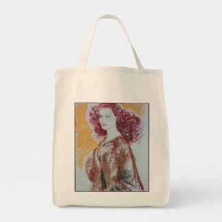 Red Hair Beauty Grocery Tote Grocery Tote Bag