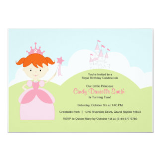 Red Hair Birthday Princess in Pink with Castle Card