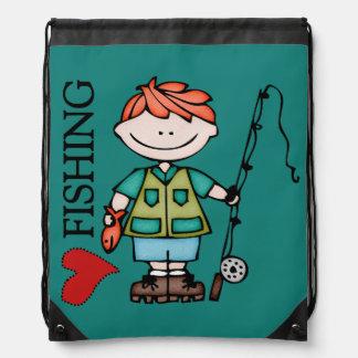Red Hair Boy I Love Fishing Drawstring Bag