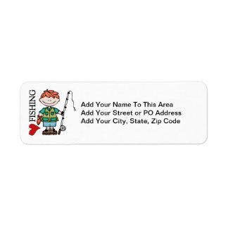 Red Hair Boy I Love Fishing Return Address Label