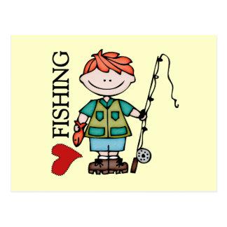 Red Hair Boy I Love Fishing Postcard