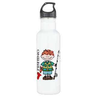 Red Hair Boy I Love Fishing Stainless Steel Water Bottle