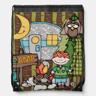 Red Hair Boy's Camping Adventure Drawstring Bag