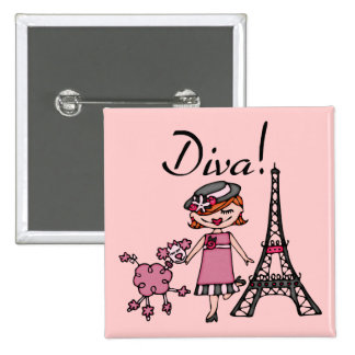 Red Hair Diva Pinback Buttons