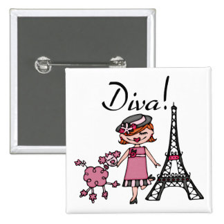 Red Hair Diva Pinback Button