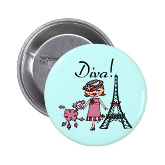 Red Hair Diva Button