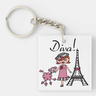 Red Hair Diva Double-Sided Square Acrylic Keychain