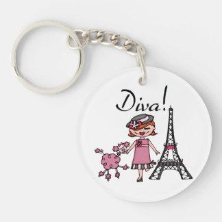 Red Hair Diva Single-Sided Round Acrylic Keychain