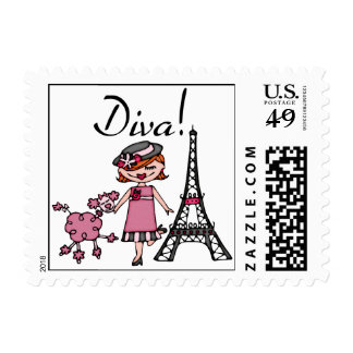 Red Hair Diva Postage