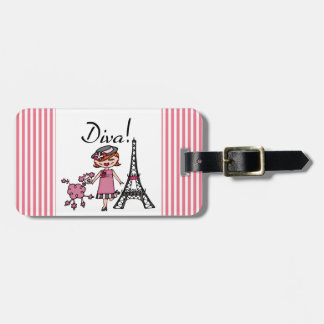 Red Hair Diva Tag For Luggage