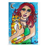 red hair diva with her cat postcard