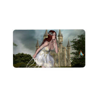 Red Hair Elf Girl and Castle Label