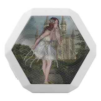 Red Hair Elf Girl and Castle White Bluetooth Speaker