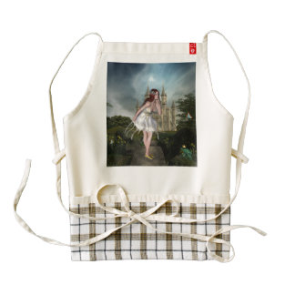 Red Hair Elf Girl and Castle Zazzle HEART Apron