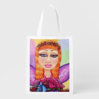 Red Hair Fairy Fae Spring Flowers Grocery Bag