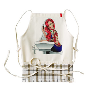 Red Hair fashion model with tattoo Zazzle HEART Apron