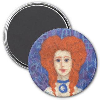 Red Hair, ginger girl rococo fiber art blue orange Magnet