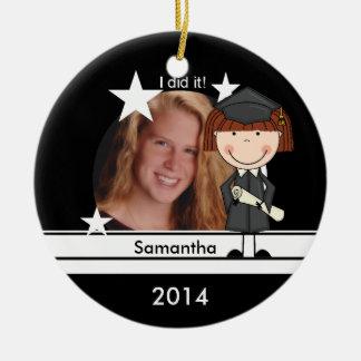 Red Hair Girl Graduate Customized Photo Keepsake Ceramic Ornament