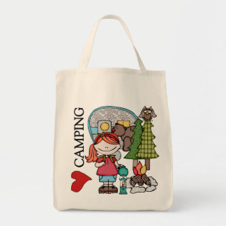 Red Hair Girl I Love Camping Tote Bags