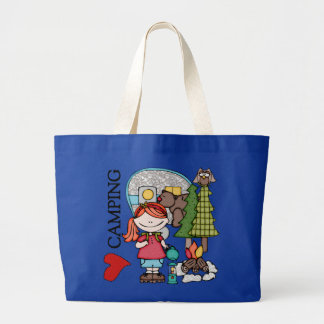 Red Hair Girl I Love Camping Bags