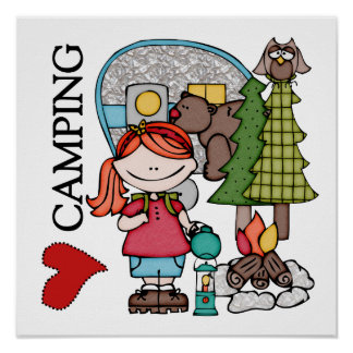 Red Hair Girl I Love Camping Posters