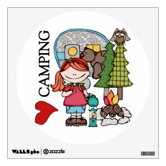Red Hair Girl I Love Camping Wall Graphic