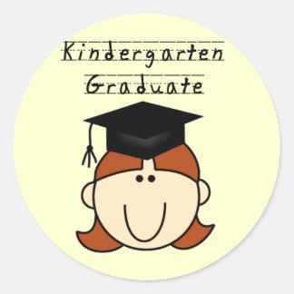 Red Hair Girl Kindergarten Graduate Classic Round Sticker