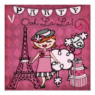 """Red Hair Girl Ooh La La Paris Birthday Invite 5.25"""" Square Invitation Card"""