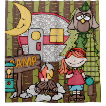 Red Hair Girl Outdoors Camping Vacation Shower Curtain