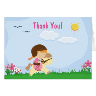 Red Hair Girl Riding Brown Horse Thank You Card