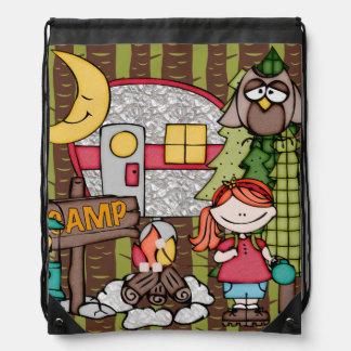 Red Hair Girl's Camping Adventure Drawstring Bag