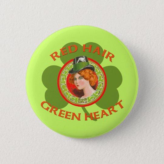 Red Hair Green Heart Button