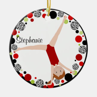 Red Hair Gymnast Red, Black & Green Personalized Ceramic Ornament