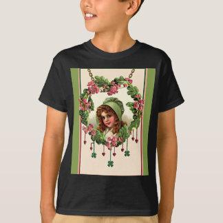 RED HAIR, HEART & GREEN BONNET by SHARON SHARPE T-Shirt