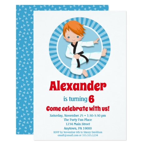 Red Hair Karate Judo Boys Birthday Invitation