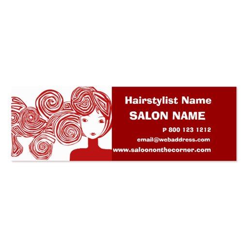 Red Hair Lady Classic Salon Hair Stylist Business Card Templates