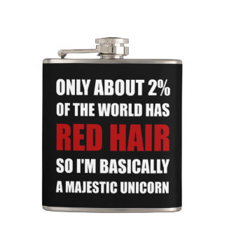 Red Hair Majestic Unicorn Hip Flask
