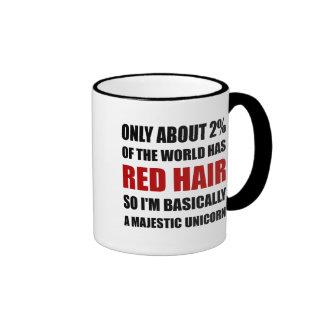 Red Hair Majestic Unicorn Ringer Mug