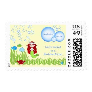 Red hair mermaid cute kids birthday party stamps