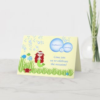 Red hair mermaid kids birthday party invitation card